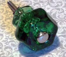 Emerald Green Glass Knobs Depression Glass Vintage Restoration Set Of 4