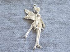4 Large Fairy Silver Plated Pendants 58 x 27mm FREE P&P