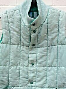 Original Vintage Puffa Branding Green White Stripe Popper Gilet Jacket Large #CF