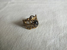 """Beautiful Ring Gold Tone Filigree Marbled Cabochon Size 7 x 5/8"""" Face NICE"""