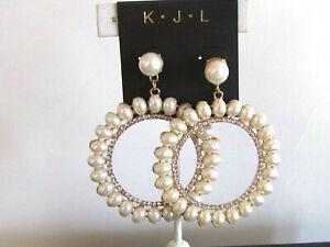 Women's Earrings Designer kenneth Jay Lane Gold Plated Faux Pearl /Crystal Hoop