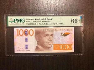 Sweden Sveriges Riksbank Pick 74 ND(2015) 1000 Kronor PMG 66 EPQ (2)