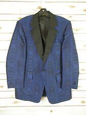 "Men's Retro Blue Brocade Smoking Jacket Size 44 Reg Castellli ""After Six"" Tuxedo"