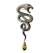 Spectacular Snake Brooch Covered With Black Diamond Austrian Crystals