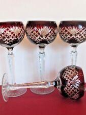 SALE  AJKA Ruby to Clear 24% PbO Crystal Wine Glasses, Hungary