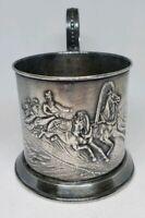RARE Vintage Russian USSR Tea Glass Cup Holder RIDERS Podstakannik Melchior #14