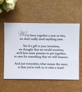 Wedding Poem Card Inserts Wedding Invitations Money Cash Gift Honeymoon