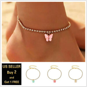 Multi-color Butterfly Gold Silver Anklet Ankle Bracelet Foot Chain