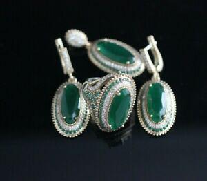 Turkish Handmade Jewelry Sterling Silver 925 Emerald Ring Earring Set 7 8 9