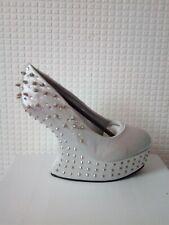 Womens new silver satin platform sandal shoe wedge spike heels u.k size 6