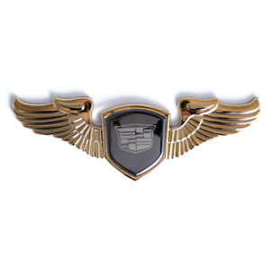 Gold Cadillac Car Front Hood Stand Wing Emblem for Escalade ATS DTS XTS CTS CT5
