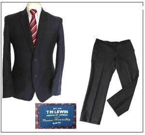 """T M Lewin Jermyn St mens 3 pieces suit SLIM FIT Ch38""""S W36"""" L29.5"""" Navy stripe"""