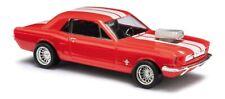 """Busch 47575 - 1/87 Ford Mustang '64 Coupé """"Muscle Car"""" - Rot mit Streifen - Neu"""