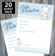 20 GUEST PACK!!  BABY BOY SHOWER GAME - BABY BLUE PREDICTION CARDS KEEPSAKE!! #2