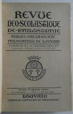 Revue Neo Scolastique de philosophie 1929 société philosophique de Louvain