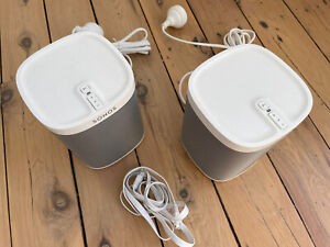 Set of 2 x Sonos Play 1 White Mint Condition