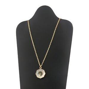 Natural Mother Of Pearl Abalone Shell Yellow Gold Plated Pendant Chain Necklace