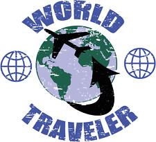 """World Traveler Plain Post Car Bumper Sticker Decal 5"""" x 4"""""""