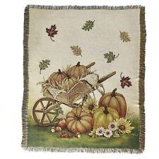 Autumn Throw Blanket with Pumpkin, Wheelbarrow, Fall Leaves Rustic Print