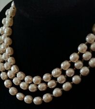 "Vintage Miriam Haskell 100 Glass Baroque Faux Pearls 4ft-5"" Rope Strand Necklace"