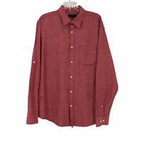 Banana Republic Mens Large Red Linen Standard Fit Button Up Long Sleeve Shirt