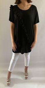 Malissa J Black Ruffle Detail T Shirt, One Size