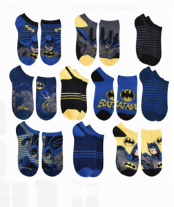 Boys Batman Socks Lot of 10 NWT Shoe Size 7-10 or 10-4 No-Show Blue Yellow Black