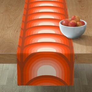 Table Runner Stripes 70S Retro Seventies Coral Scallop Mod Cotton Sateen
