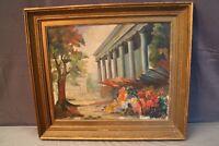 Tableau signé A. Baum huile sur toile vue du marché aux fleurs de La Madeleine
