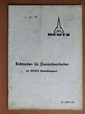 Richtzeiten Liste für Deutz Schlepper D 2505 3005 4005 4505 5005 5505 8005