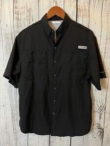 Columbia PFG Omni-Shade Fishing Shirt S Vented Short Sleeve Black