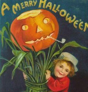 Vintage Halloween Postcard Ellen Clapsaddle Boy Corn Stalk Embossed Edwards ILL