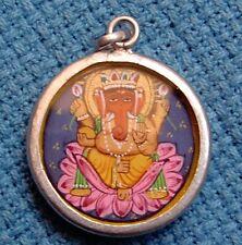 Vintage Engraved Hindu God Ganesha Elephant God Silver Necklace Pendant Jewelry