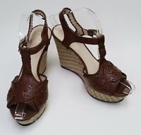 Jack Rogers Shoes Sandals Brown Wedge Womens Size 7.5