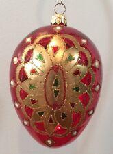 "NIB Handcrafted Hand Blown 5"" Ruby Glass Egg Ornament w Gold Trim Poland J007"