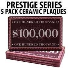 Prestige Series Ceramic Poker Chip Plaques $100,000  Pack of 5