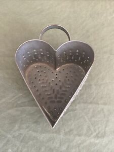 Punched Tin Heart Shaped Cheese Mold 19th Century