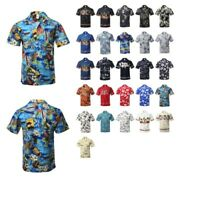FashionOutfit Men's Casual Beach Hawaiian Tropical Print Button Down Shirt