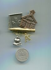 Teacher School Brooch Pin Metal With School Related Dangle Charms New