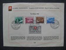 timbres suisse : Pro Patria 1953 première oblitération