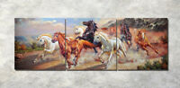 """3Parts Home Wall Decor 16x16"""" Running horse Art Printed Painting on Canvas 987"""