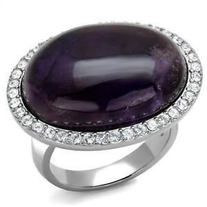 Ladies amethyst ring purple cocktail semi precious statement clear cz steel 3083