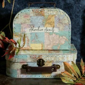 Sass And Belle Vintage Map Storage Mini Suitcases Set of 2 Adventure Awaits