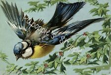 Fabric Block Blue Bird Floral Flowers Branches Yellow Breasted