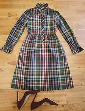 J.CREW Vintage Plaid COTTON Ruffle Button Up Long Sleeve A-Line Dress Size 0 /XS