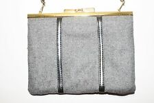Vintage Gray Wool Handbag Purse Clutch Removable Strap