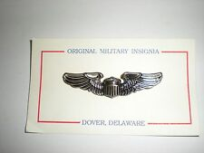 NICE WWII REPRODUCTION MINIATURE USAAF PILOT'S WINGS - SILVER OXIDIZED WITH PIN