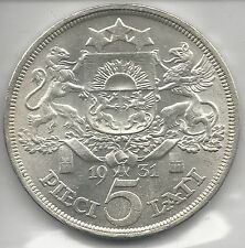 LATVIA, 1931, 5 LATI, SILVER, KM#9, UNCIRCULATED