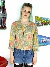 WOMENS VINTAGE 80'S PASTEL FLORAL PATTERNED CROPPED BLOUSE CUTE CROP TOP 10