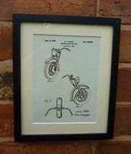 USA Patent Drawing HARLEY DAVIDSON MOTORCYCLE CYCLE Front End MOUNTED PRINT 1949